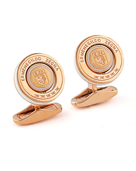 Rotating Seal Cuff Links w/ Enamel, Rose/White