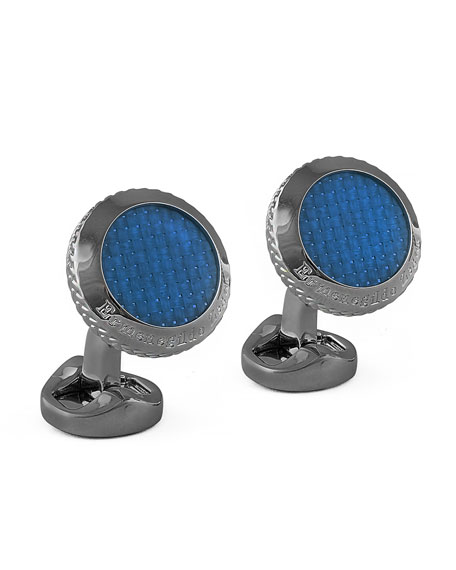 Round Pyramid Cuff Links, Blue