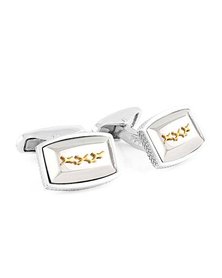 Tonneau Silver Cuff Links w/ Gold-Plate XXX