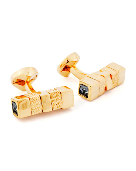 Square Rotating Bar Cuff Links w/ Crystals, Yellow/Black