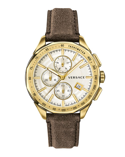 Men's 44mm Glaze Chronograph Watch w/ Leather Strap,Brown/Golden