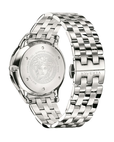 Men's Univers 43mm Watch w/ Bracelet Strap, Silver/Black
