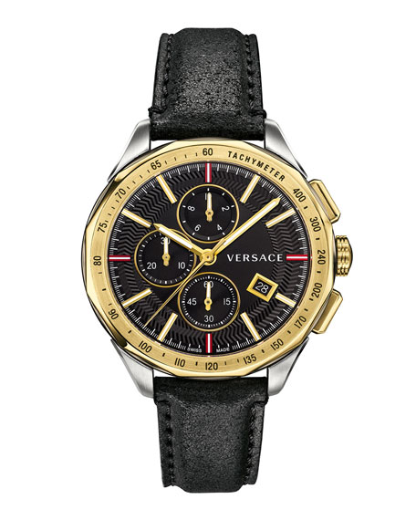 Men's 44mm Glaze Chronograph Watch w/ Leather Strap, Two-Tone/Black