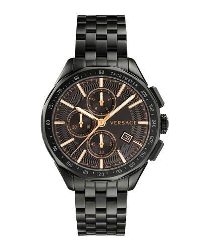Men's 44mm Glaze Chronograph Watch w/ Bracelet Strap, Black