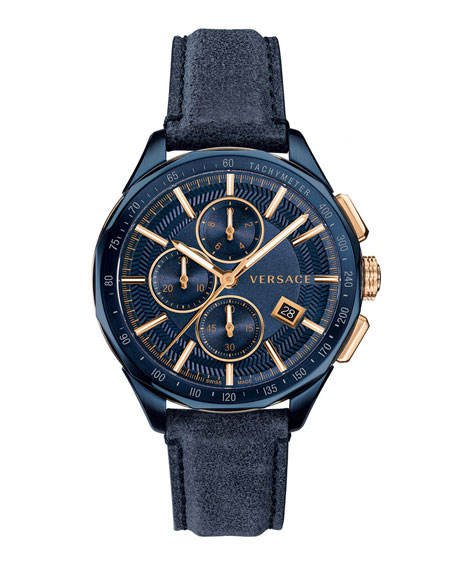 Men's 44mm Glaze Chronograph Watch w/ Leather Strap, Blue