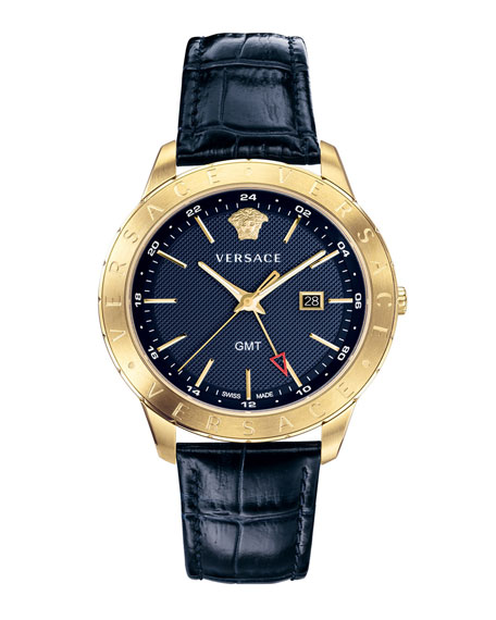 VERSACE Men'S Univers 43Mm Watch W/ Leather Strap, Blue/Champagne, Blue/ Gold