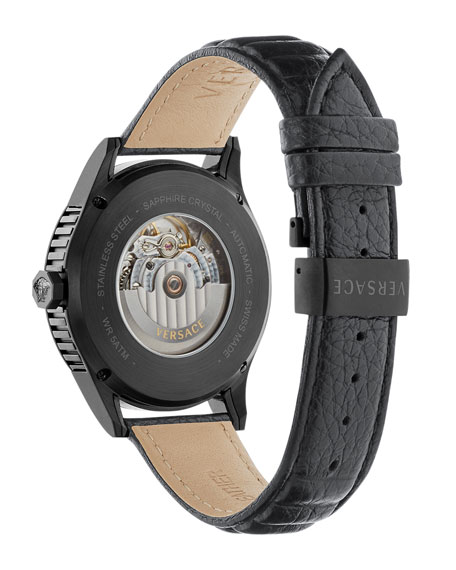Men's 44mm Aiakos Automatic Watch w/ Leather Strap, Black