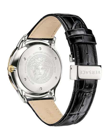 Men's Univers 43mm Watch w/ Leather Strap, Black/Two-Tone