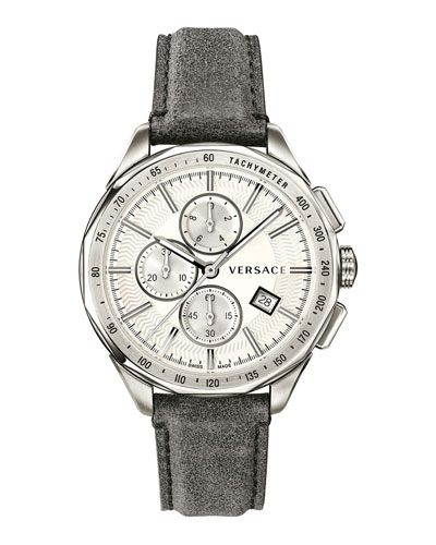Men's 44mm Glaze Chronograph Watch w/ Leather Strap, Silver/Gray