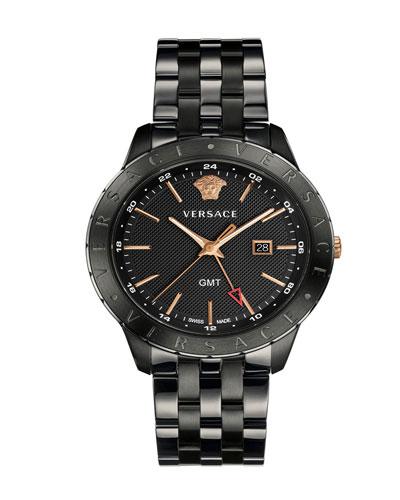 Men's Univers 43mm Watch w/ Bracelet Strap, Black