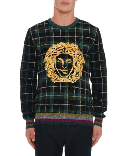 Men's Medusa Head Plaid Sweater