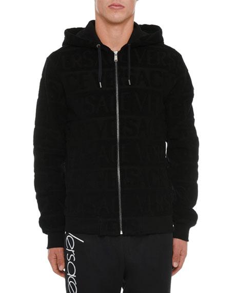 Versace Men's Zip-Front Logo-Embossed Hoodie Sweatshirt
