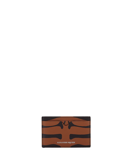 Men's Animal-Print Leather Card Case