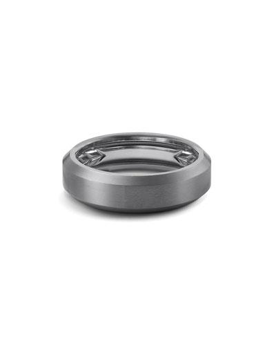 Men's 6.5mm Beveled Edge Titanium Band Ring