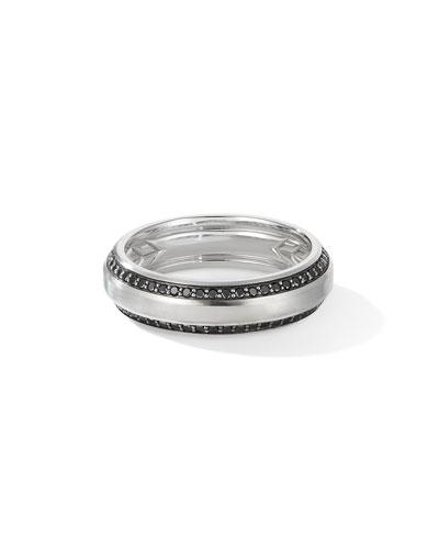 Men's Beveled 18k White Gold Ring w/ Black Diamonds  Larger Sizes