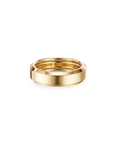 Men's Beveled Edge 18k Gold Band Ring