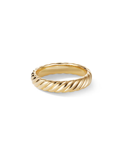 Men's 18k Gold Cable Band Ring  5mm