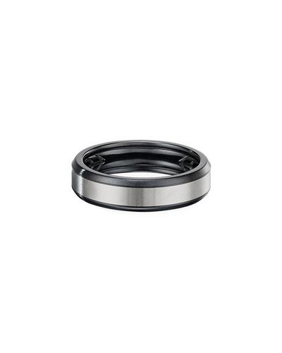 Men's 6mm Beveled Band Ring in Black & Gray Titanium