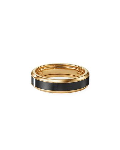 Men's 6mm Beveled Band Ring in 18k Gold & Black Titanium