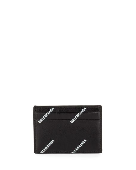 Men's Allover Logo-Print Leather Card Case