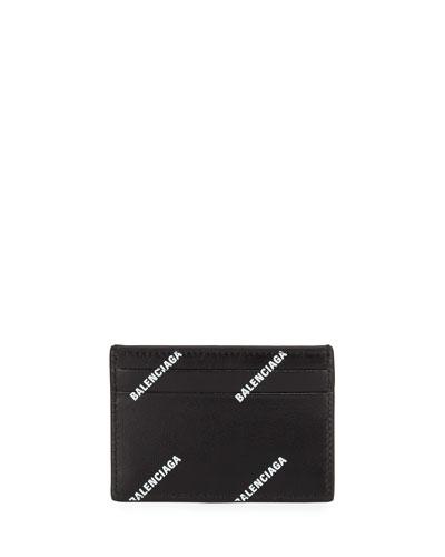 Neimanmarcus balenciaga mens allover logo print leather card case colourmoves
