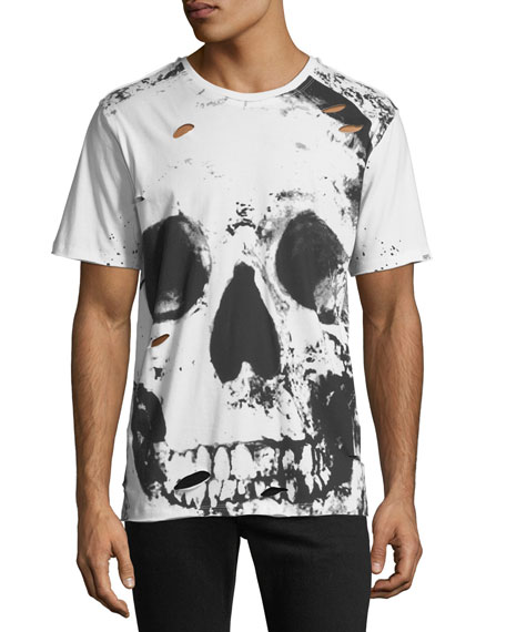 PRPS Men's Big Skull Graphic T-Shirt with Holes