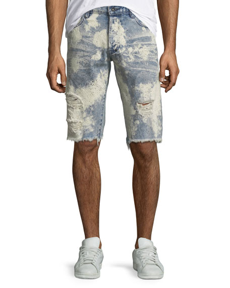 PRPS Men's Bleach Splatter Speckled Denim Shorts