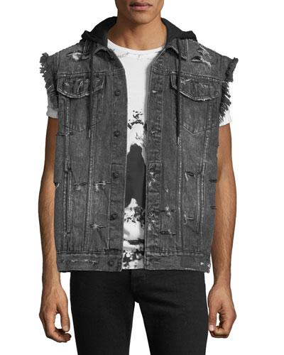 Denim Vest Jacket with Hoodie Combo