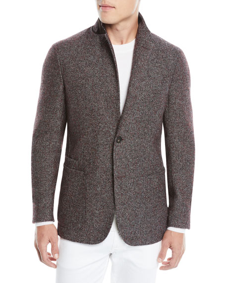 Ermenegildo Zegna Men's Textured Camel/Alpaca Two-Button Blazer