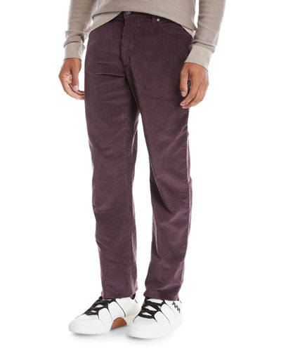 Men's Wide-Wale Corduroy Pants, Dark Red