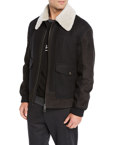 Men's Double Wool Short Bomber Jacket