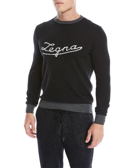 Ermenegildo Zegna Men's Cashmere Logo Pullover Sweatshirt