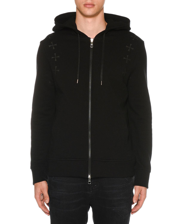 78cac977a62 Neil Barrett Men s Military Star Zip-Front Hoodie Sweatshirt ...