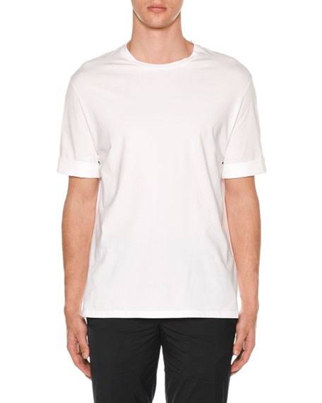 Men's Poplin-Trim Jersey T-Shirt