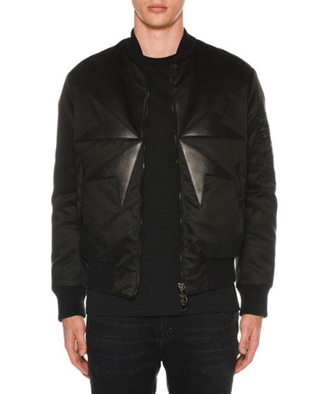 NEIL BARRETT Men'S Goth Cross Bomber Jacket in Black