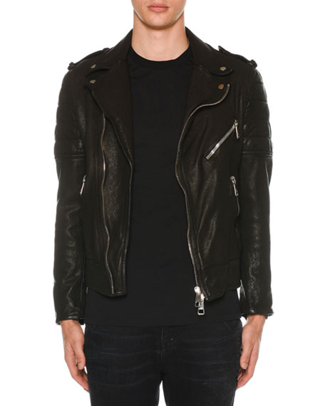 Men's Buffalo Leather Biker Jacket