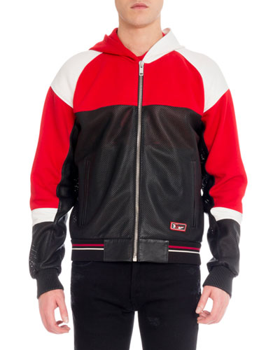 Men's Colorblock Perforated Leather Zip-Front Hoodie Jacket