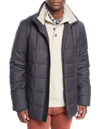 Men's Emerald Quilted Bomber Coat