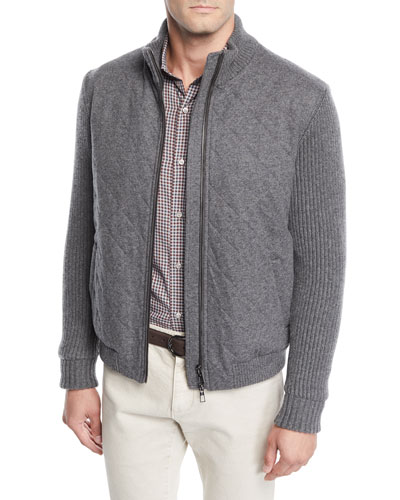 Men's Ryan Full-Zip Cashmere Bomber Jacket