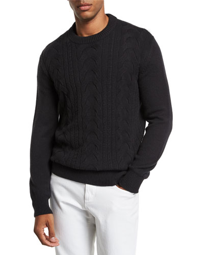 Men's Cabled Cashmere Crewneck Sweater