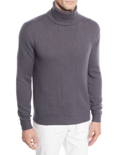 Men's Vertical-Seamed Turtleneck Sweater