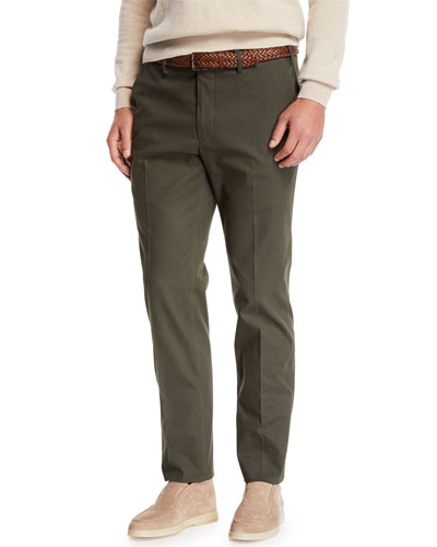 Men's Straight-Leg Stretch-Cotton Pants