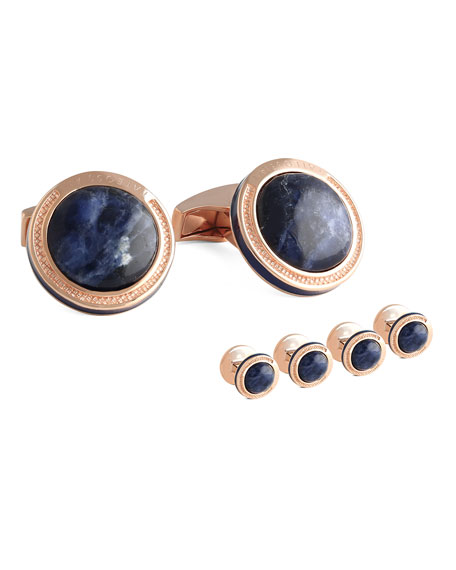 TATEOSSIAN SODALITE & ROSE GOLD-PLATED CUFF LINKS AND STUD SET