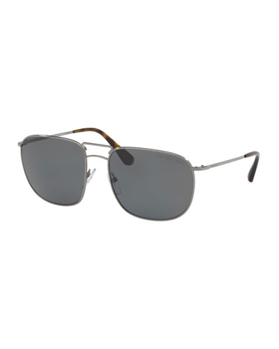 Men's Polarized Classic Square Metal Sunglasses