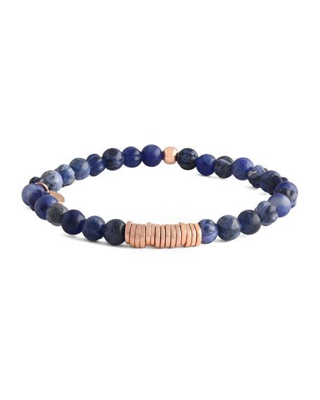 Men's Sodalite & Disc Bracelet, Rose Golden