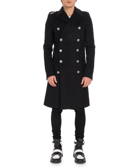 Men's Manteau Croise Long Double-Breasted Coat