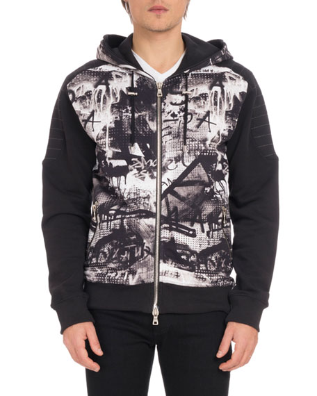 Men's Graffiti-Print Zip-Front Hoodie Sweatshirt