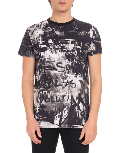 Men's Crewneck Short-Sleeve Graffiti-Print Cotton T-Shirt