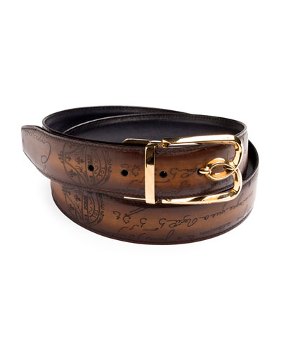 Men's Reversible Scritto Leather Belt with B Logo Buckle