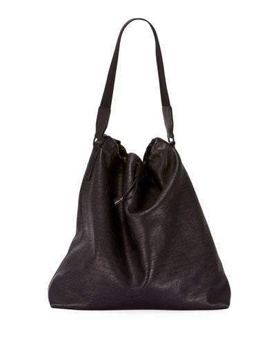 Men's Pochon Ego Scritto Leather Tote Bag